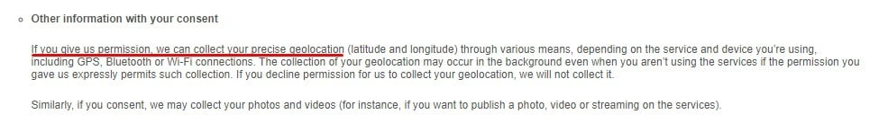 Match Privacy Policy: Other information with your consent clause - Geolocation section highlighted
