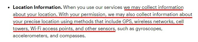 Snap Privacy Policy: Location Information clause
