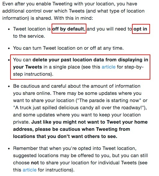 Twitter Tweet Location FAQ: Opt in and delete past location data sections highlighted