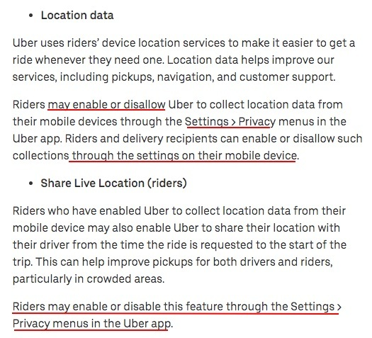 Uber Privacy Notice: Privacy Settings clause - Location Data and Share Live Location sections