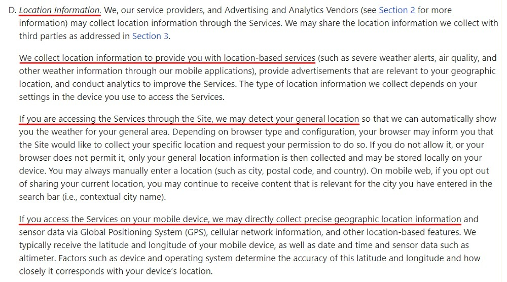 The Weather Channel Privacy Policy: Location Information clause excerpt