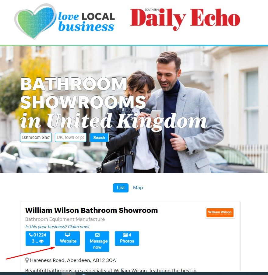 Daily Echo: William Wilson Bathroom Showroom website link highlighted