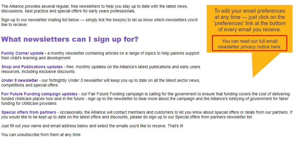 Early Years Alliance email newsletter sign-up page with Privacy Notice link highlighted