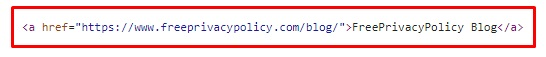 Example of html coding of website link: Freeprivacypolicy blog