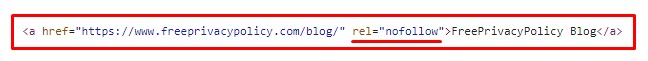 Example of html coding of website with nofollow link: Freeprivacypolicy blog