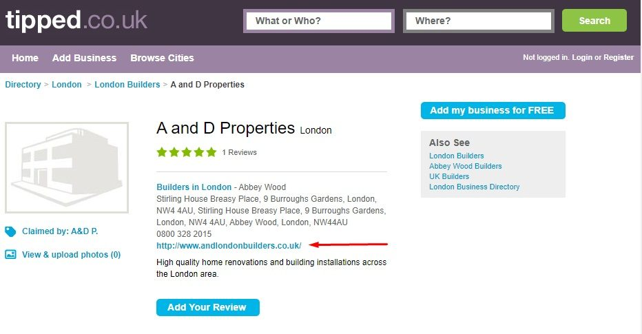 Tipped UK: A and D Properties page with website link highlighted