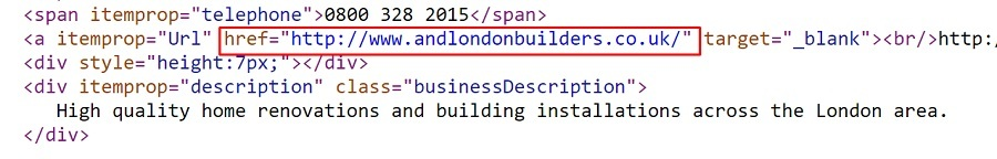Tipped UK page source code with nofollow on A and D Properties website link