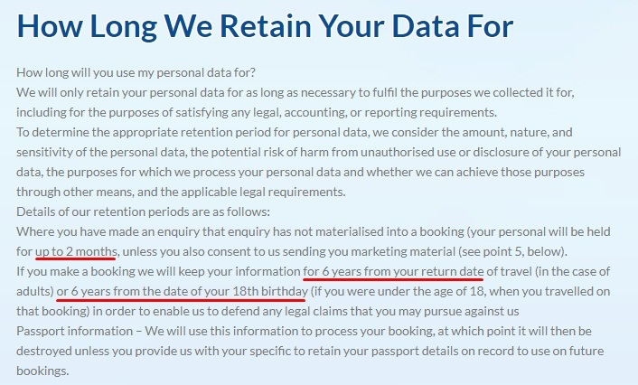 Dawson and Sanderson Privacy Policy: How Long We Retain Your Data For clause excerpt