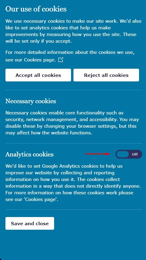 ICO cookie consent notice with analytics cookies button highlighted