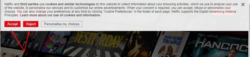 Netflix cookie consent notice with accept and reject buttons highlighted