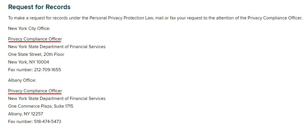New York Department of Financial Services Privacy Policy: Request for Records clause with Privacy Compliance Officer contact information