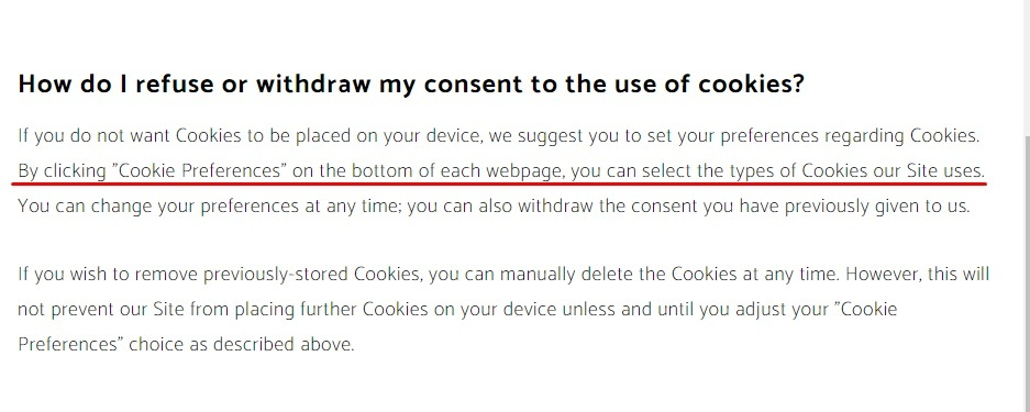 NTT Data Cookie Policy: How do I refuse or withdraw my consent to the use of cookies clause