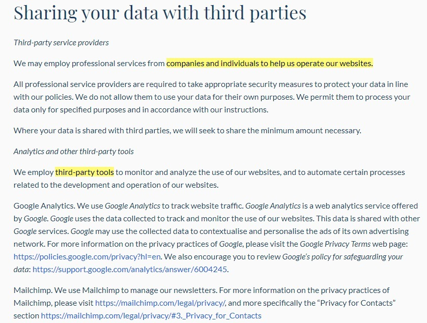 Our World In Data Privacy Policy: Sharing your data with third parties clause excerpt
