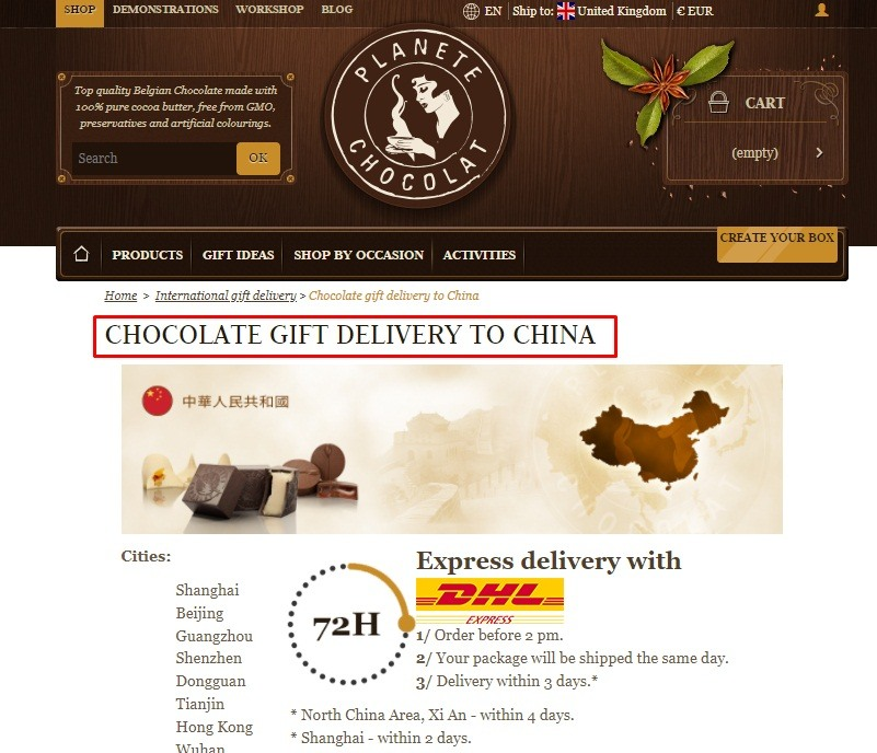 Screenshot of Planete Chocolat delivery to China page