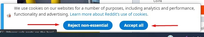 Reddit cookie consent notice with accept and reject buttons highlighted
