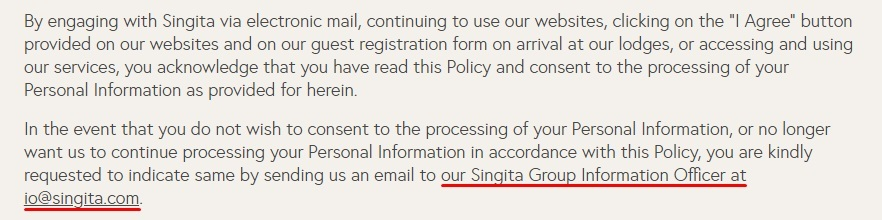 Singita Privacy Policy: Introduction clause - Information Officer contact information highlighted
