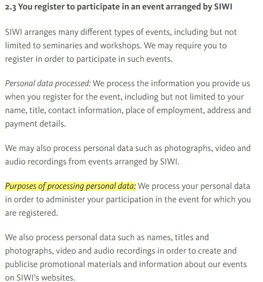 Stockholm International Water Institute: Processing Personal Data - Register for events clause