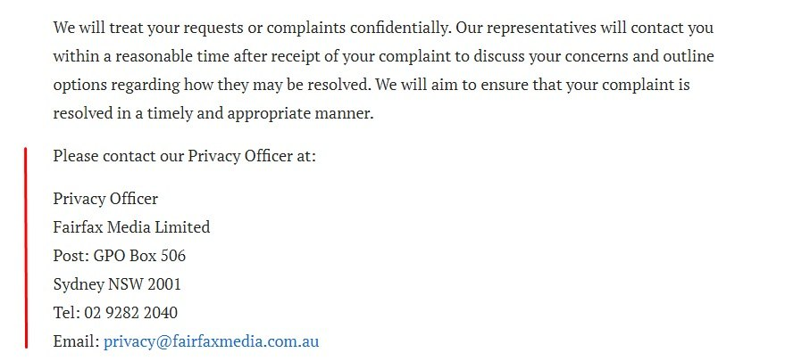 Sydney Morning Herald Privacy Policy: Contact Privacy Officer clause