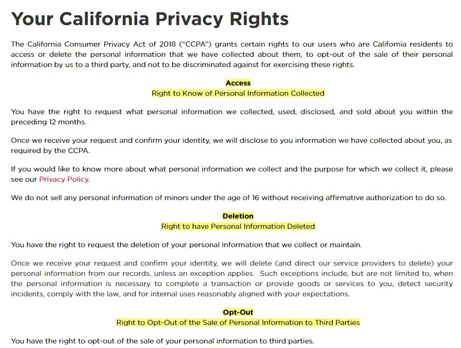 Aramark California Privacy Rights page excerpt
