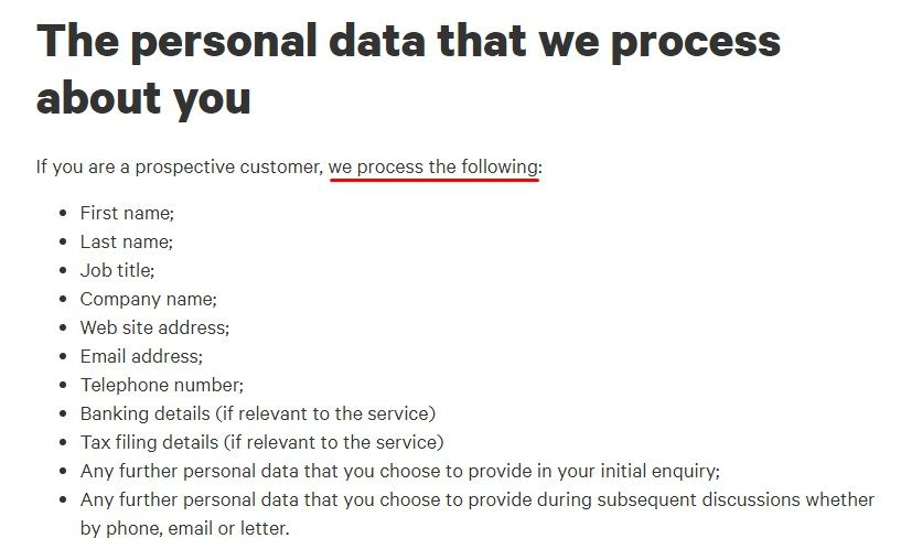Azets Privacy Statement: Personal data that we process about you clause excerpt