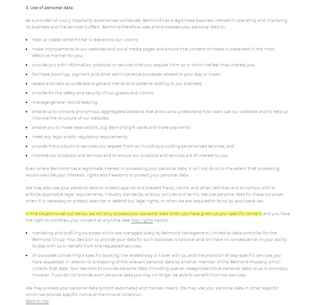 Belmond Privacy Policy: Use of Personal Data clause