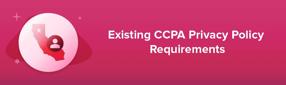 Existing CCPA Privacy Policy Requirements