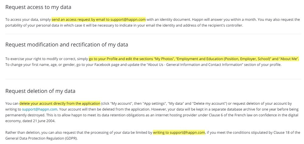 Happn Exercise Your Rights page: Access, modification, rectification and deletion of data clauses