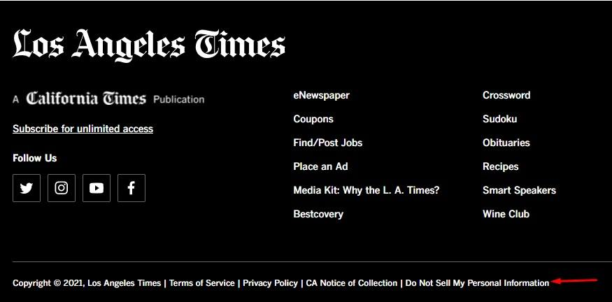 LA Times website footer with Do Not Sell My Personal Information link highlighted