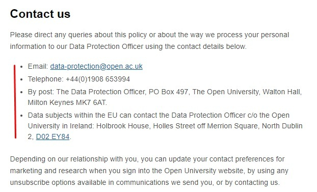 Open University Privacy Policy: Contact clause