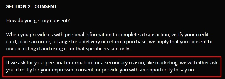 Paradise Cycles Privacy Policy: Consent clause excerpt