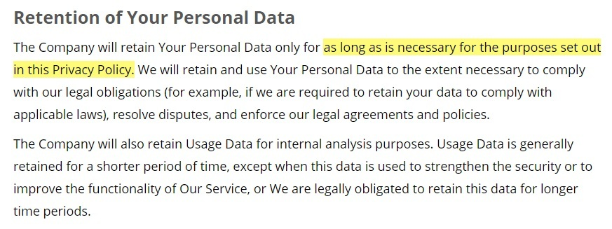 Rotary Club of Anaheim Privacy Policy: Retention of Your Personal Data clause