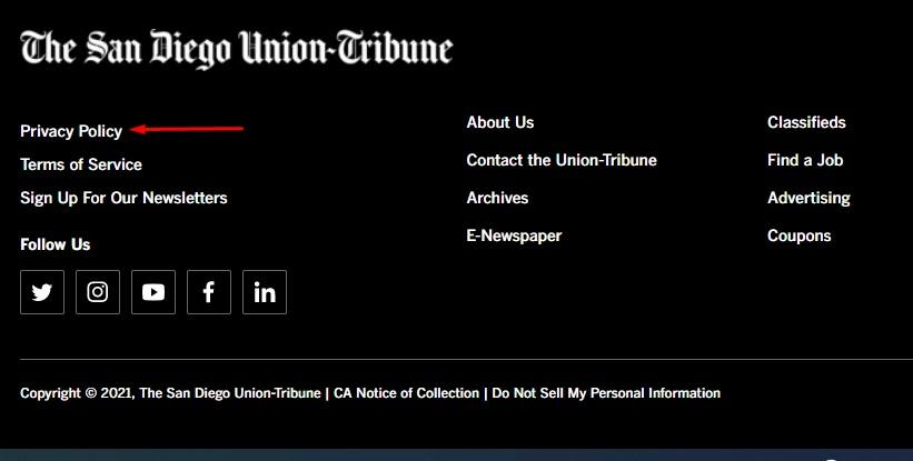 San Diego Union Tribune website footer with Privacy Policy link highlighted
