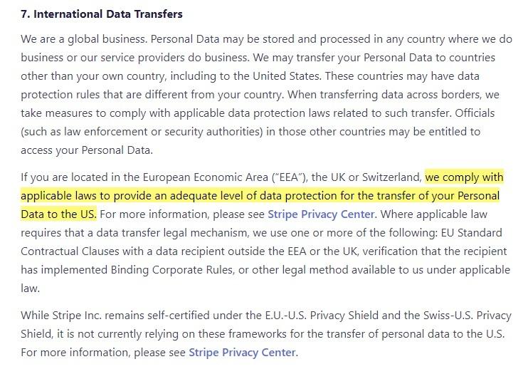 Stripe Privacy Policy: International Data Transfers clause